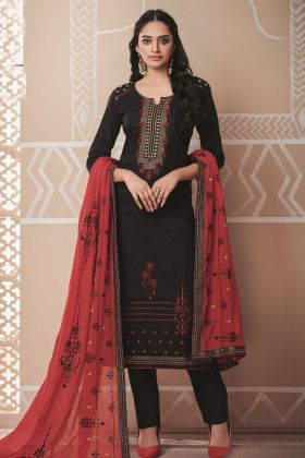 Black Designer Pure Cotton Salwar Suit