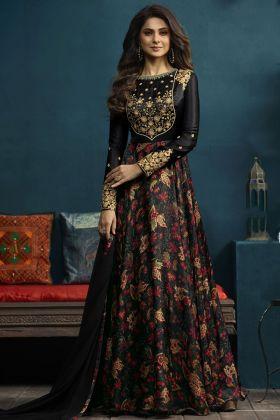 Black Digital Print Satin Silk Designer Gown