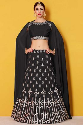 Black Embroidered Art Silk Made to Measure Lehenga Choli