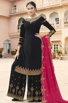 Black Embroidered Georgette Black Sharara Salwar Suit