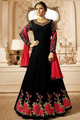 Black Embroidered Georgette Wedding Anarkali Suit