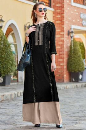 Black Flex Rayon Straight Kurti With Rayon Palazzo