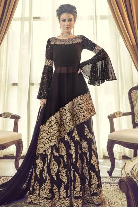 Black Georgette Indo Western Suit