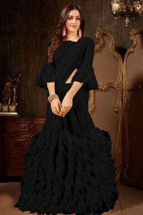 Black Georgette Party Wear Ruffle Saree
