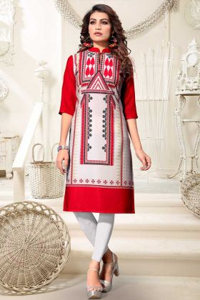 Heavy American Crepe Daily Wear Kurti Multi Color