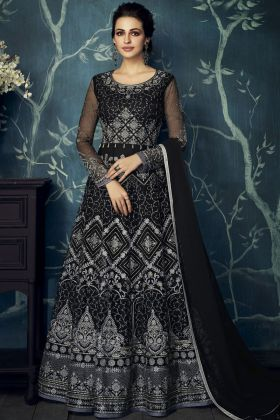 Black Heavy Blooming Georgette Anarkali Suit
