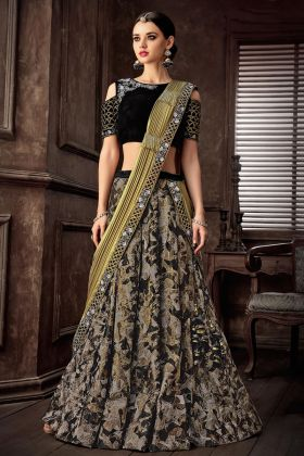 Black Jacquard Silk Wedding Lehenga