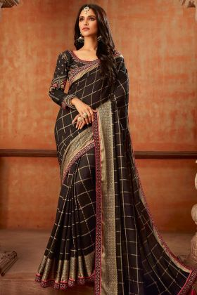 Black Jaquard Silk Traditional Saree Wedding Collection