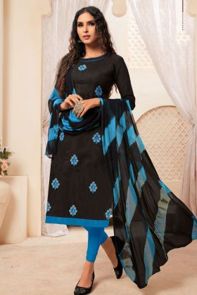 Black Modal Silk Dress Material