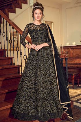 Black Net Indo Western Salwar Suit With Coding Embroidery