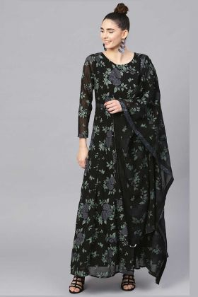 Black Polyester Anarkali Suit With Printed Dupatta