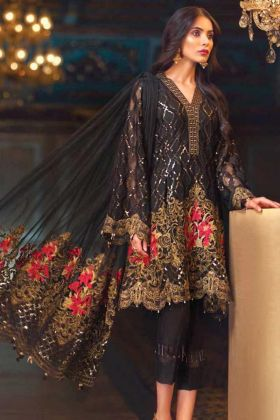Black Pure Chiffon Pakistani Salwar Suit With Embroidery Work
