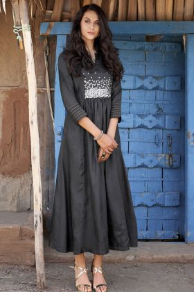 Black Pure Silk Hand Work Kurti