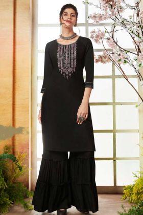 Black Rayon Sharara kurti