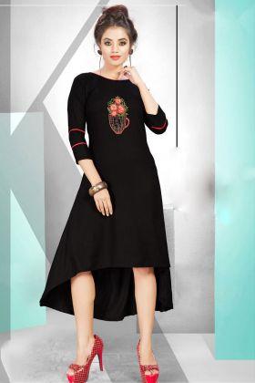 Black Rayon Stylish Kurti Online