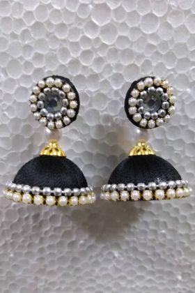 Black Resham Thread Jhumki Earrings