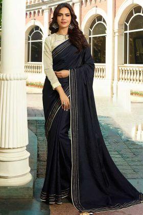 Black Saree Printed Work With Chanderi Fabric