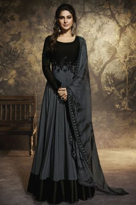 Black Semi Stitched Anarkali Suit