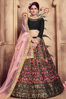 Black Silk Wedding Lehenga Choli
