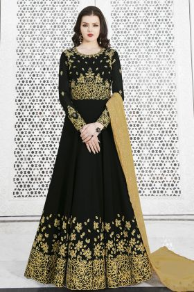 Black Soft Georgette Anarkali Salwar Kameez