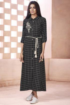 Black Weaving Cotton Kurti