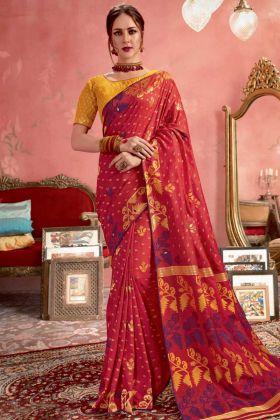 Blended Cotton Jacquard Banarasi Silk Party Wear Red Saree