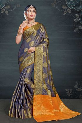 Blissful Navy Blue Weaving Banarasi Art Silk Festival Saree