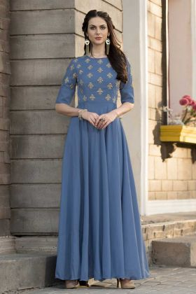 Blissful Party Wear Slub Silk Gown Blue Color With Diamond Work