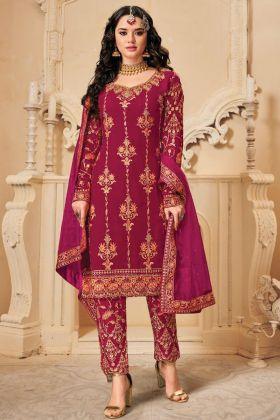Blooming Georgette Rani Pink Designer Pakistani Salwar Kameez