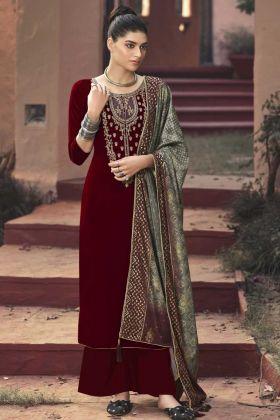 Blooming Maroon Velvet Semi Stitched Salwar Suit