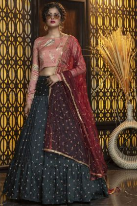 Blooming Pine Green Cotton Sequence Work Lehenga Choli