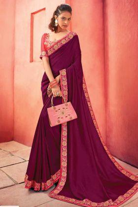 Blooming Purple Colored Chanderi Silk Designer Saree Online