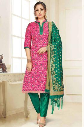 Blooming Rani Pink Party Wear Banarasi Art Silk Salwar Suit