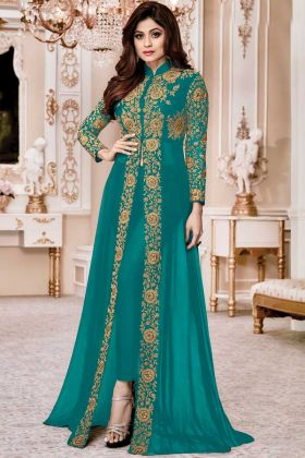 Blooming Teal Blue Color Suit In Faux Georgette Fabric