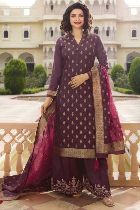 Blooming Wine Jacquard Silk Semi Stitched Salwar Suit