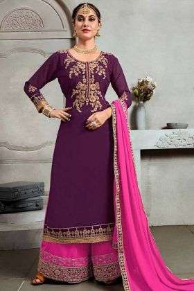 Blooming Georgette Palazzo Dress Stone Work In Violet Color