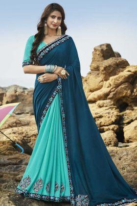 Blue And Turquoise Blue Soft Art Silk Wedding Saree