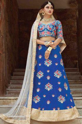 Blue Color Art Silk Wedding Wear Lehenga Choli