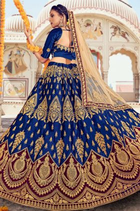 Blue Color Bridal Wearing Designer Embroidered Silk Heavy Lehenga Choli