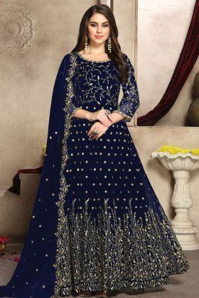 Blue Color Designer Party Wear Georgette Anarkali Suit