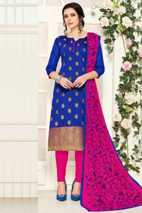 Blue Color Dress Material Fabricated On Banarasi Silk Online Collection