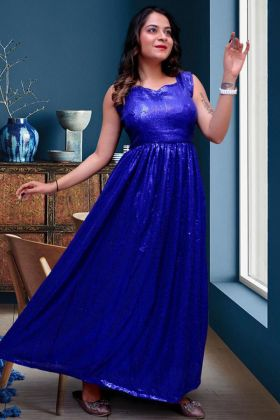 Blue Color Georgette Anarkali Pretty Partywear Presenting Dress