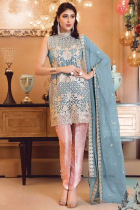 Blue Color Georgette Embroidered Pakistani Suit