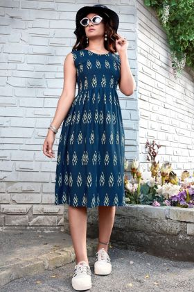 Blue Color Heavy Rayon Printed One Piece Western Dress 2021