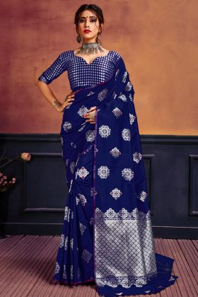 Blue Color Lichi Silk Saree Collection In Wholesale Rate