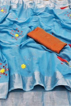 Blue Color Linen Cotton Traditional Looking Saree