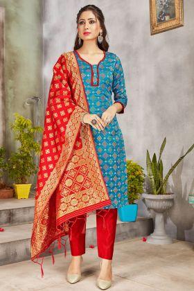 Blue Color Party Wear Banarasi Art Silk Blue Color Salwar Suit