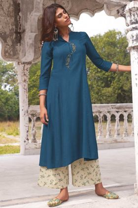 Blue Color Party Wear Super Fine Modal Khadi Readymade Kurti