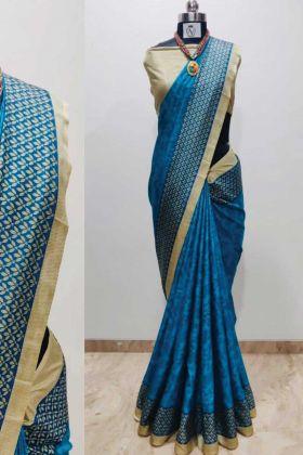 Blue Color Printed Malgudi Silk Saree For Nice Looking