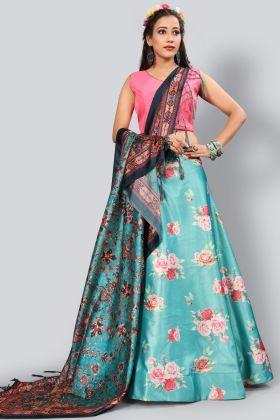 Blue Color Satin Silk Digital Printed Lehenga Choli